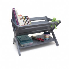 Kids' Book Caddy With Shelf, Gray