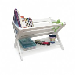 Kids' Book Caddy with Shelf, White