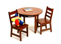 Child's Round Table with Shelf & 2 Chairs, Cherry Finish