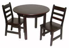 Child's Round Table with Shelf & 2 Chairs, Espresso Finish