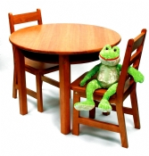 Child's Round Table with Shelf & 2 Chairs, Pecan Finish