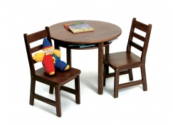 Child's Round Table with Shelf & 2 Chairs, Walnut Finish