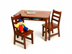 Child's Rectangular Table with Shelves & 2 Chairs, Cherry Finish