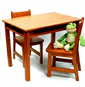Child's Rectangular Table with Shelves & 2 Chairs, Pecan Finish