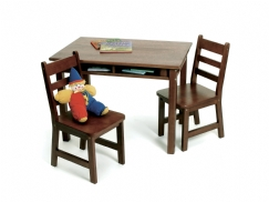 Child's Rectangular Table with Shelves & 2 Chairs, Walnut Finish