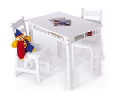 Child's Rectangular Table with Shelves & 2 Chairs, White
