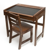 Child's Chalkboard Desk & Chair, 2-Piece Set, Walnut Finish