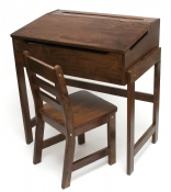 Child's Slanted Top Desk & Chair, Walnut Finish