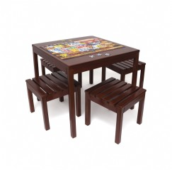 Child's 5 Piece Square Table and Slatted Stool Set, Cherry Finish