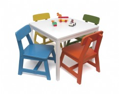 Childu0027s 5 Piece Square White Table And Multi Color Chair Set