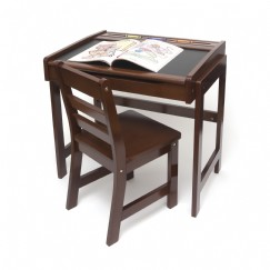 childu0027s desk with chalkboard top and chair set walnut finish - Childs Desk