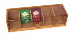 Bamboo & Acrylic Tea Box, 5-Sections