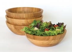 Bamboo Small Salad Bowls, 4-Piece Set