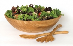 Bamboo Large Salad Bowl with Servers, 3-Piece Set