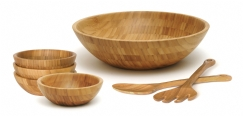 Bamboo Salad Bowls with Servers, 7-Piece Set