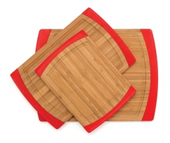 Bamboo Non-Slip Cutting Boards, Red
