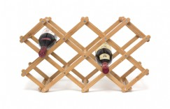 Bamboo Folding 10 Bottle Wine Rack