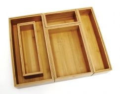 Bamboo Organizer Boxes, 5-Piece Set