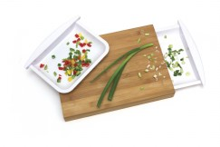 Bamboo Cutting Board with 2 Half Trays