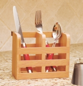 Bamboo Flatware Holder with Metal Clips, 2-Compartments