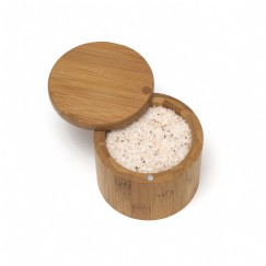 Bamboo Salt Box with Swivel Cover
