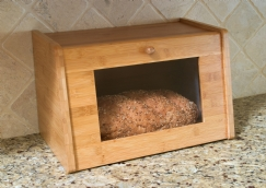 Bamboo Bread Box with Tempered Glass Window