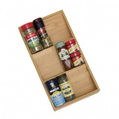 Bamboo In Drawer Spice Organizer Tray