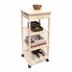 Bamboo Space-Saving Cart with 1 Drawer, Whitewash Finish