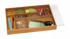 NEW Bamboo Adjustable Drawer Organizer with Acrylic Slide Cover