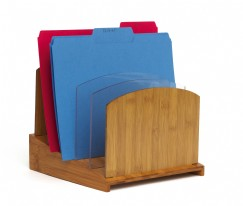 NEW Bamboo Graduated File Organizer with Acrylic Dividers