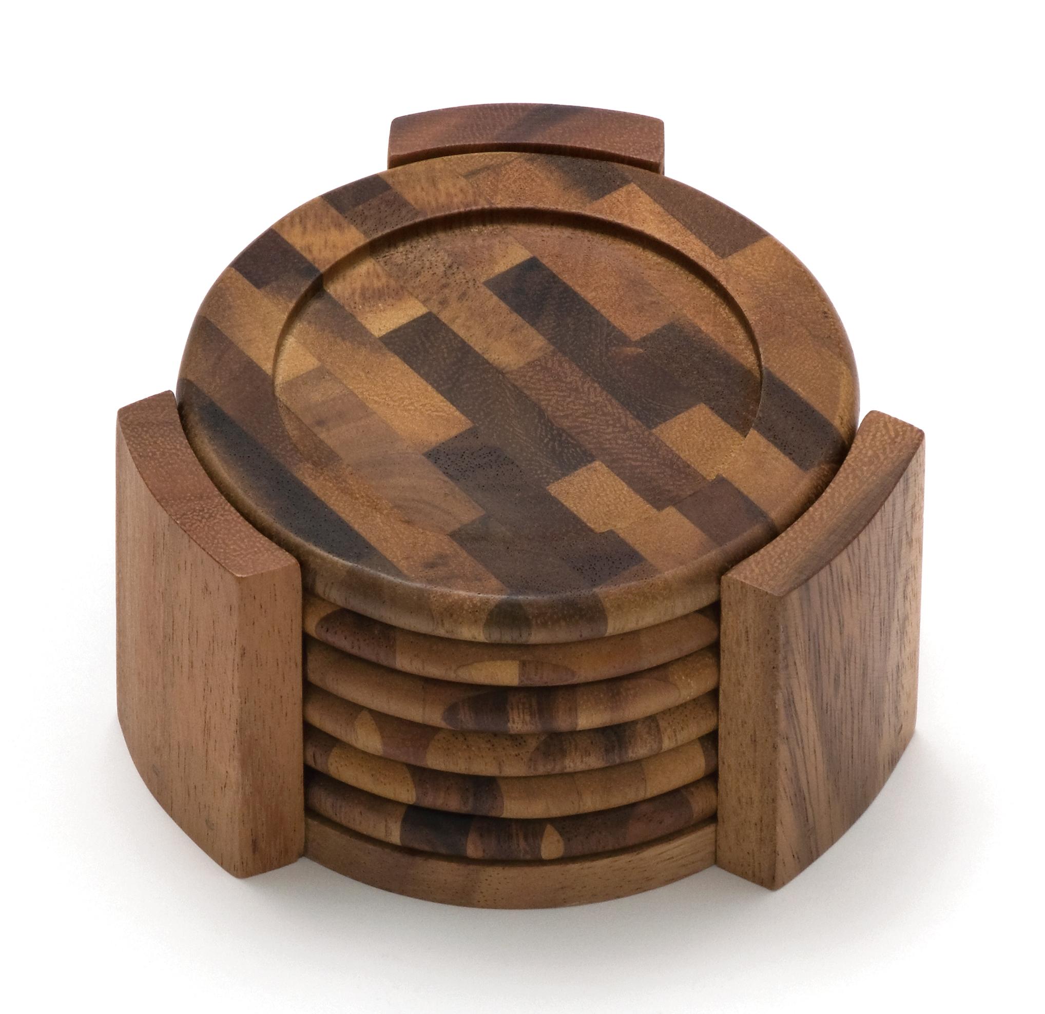 coaster sets  dining  entertaining  lipper international - acacia end grain coaster set piece set