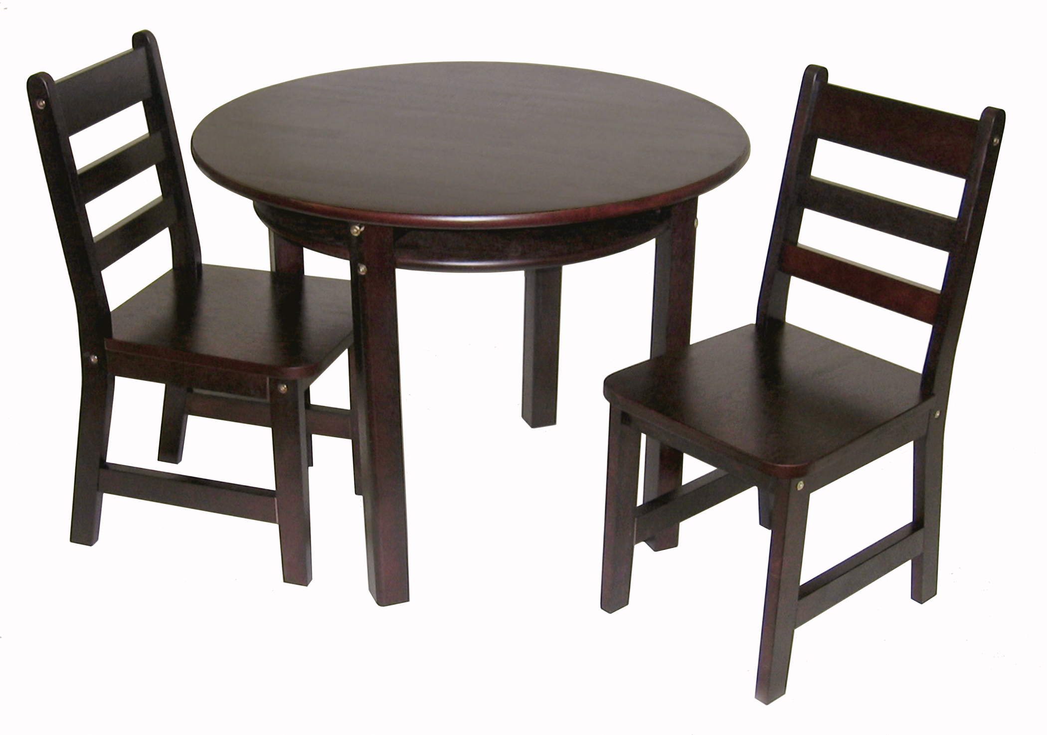 Child s Round Table with Shelf & 2 Chairs Espresso Finish
