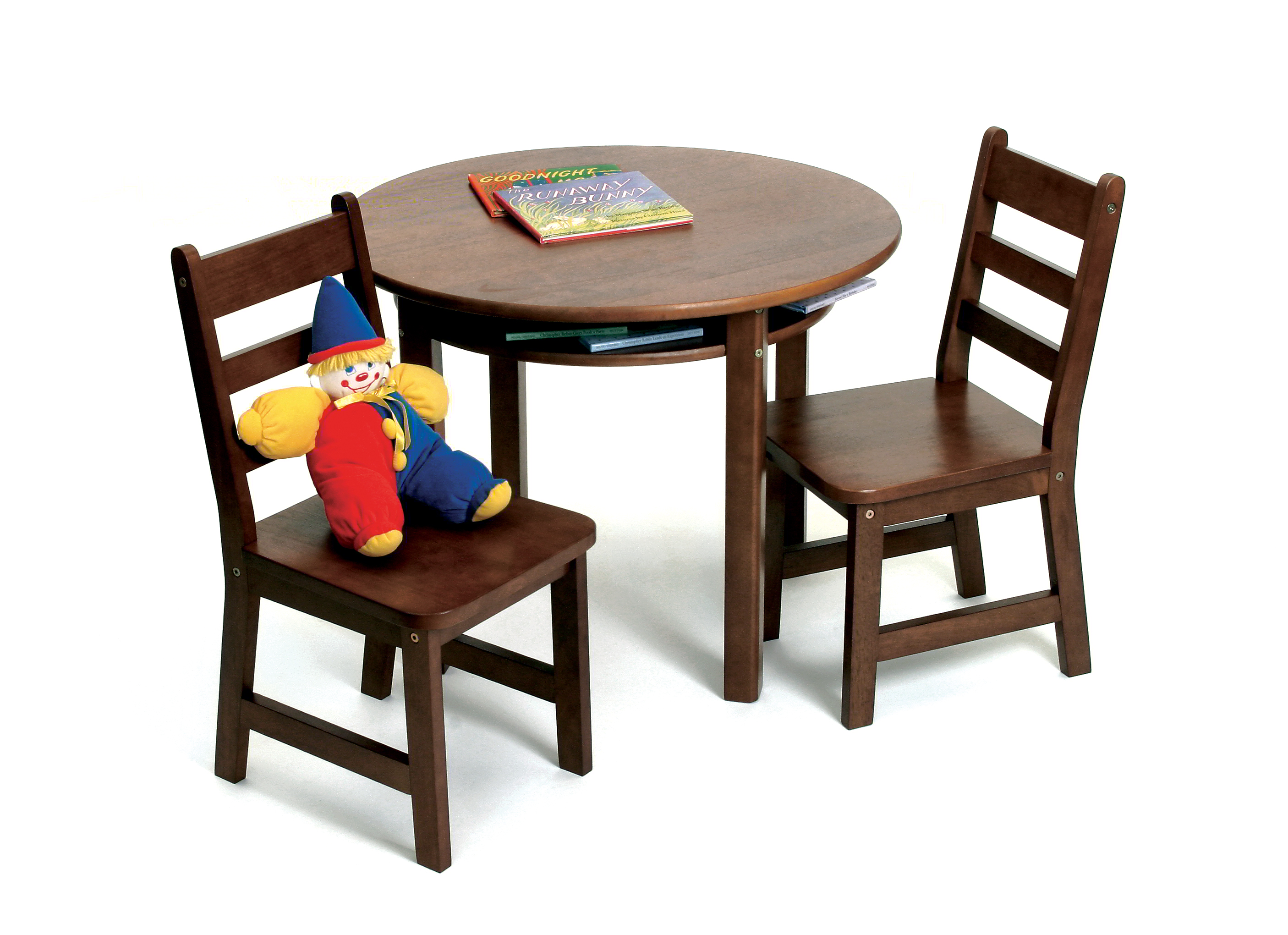 Child s Round Table with Shelf & 2 Chairs Walnut Finish