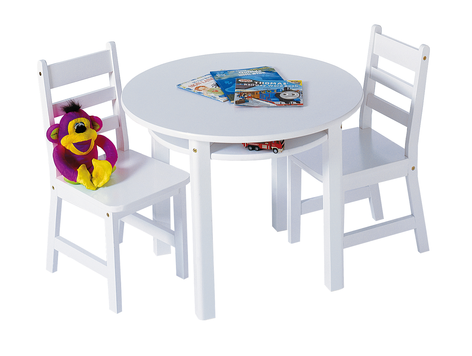 Childu0027s Round Table With Shelf U0026 2 Chairs, White | Lipper International  Table U0026 Chair Sets