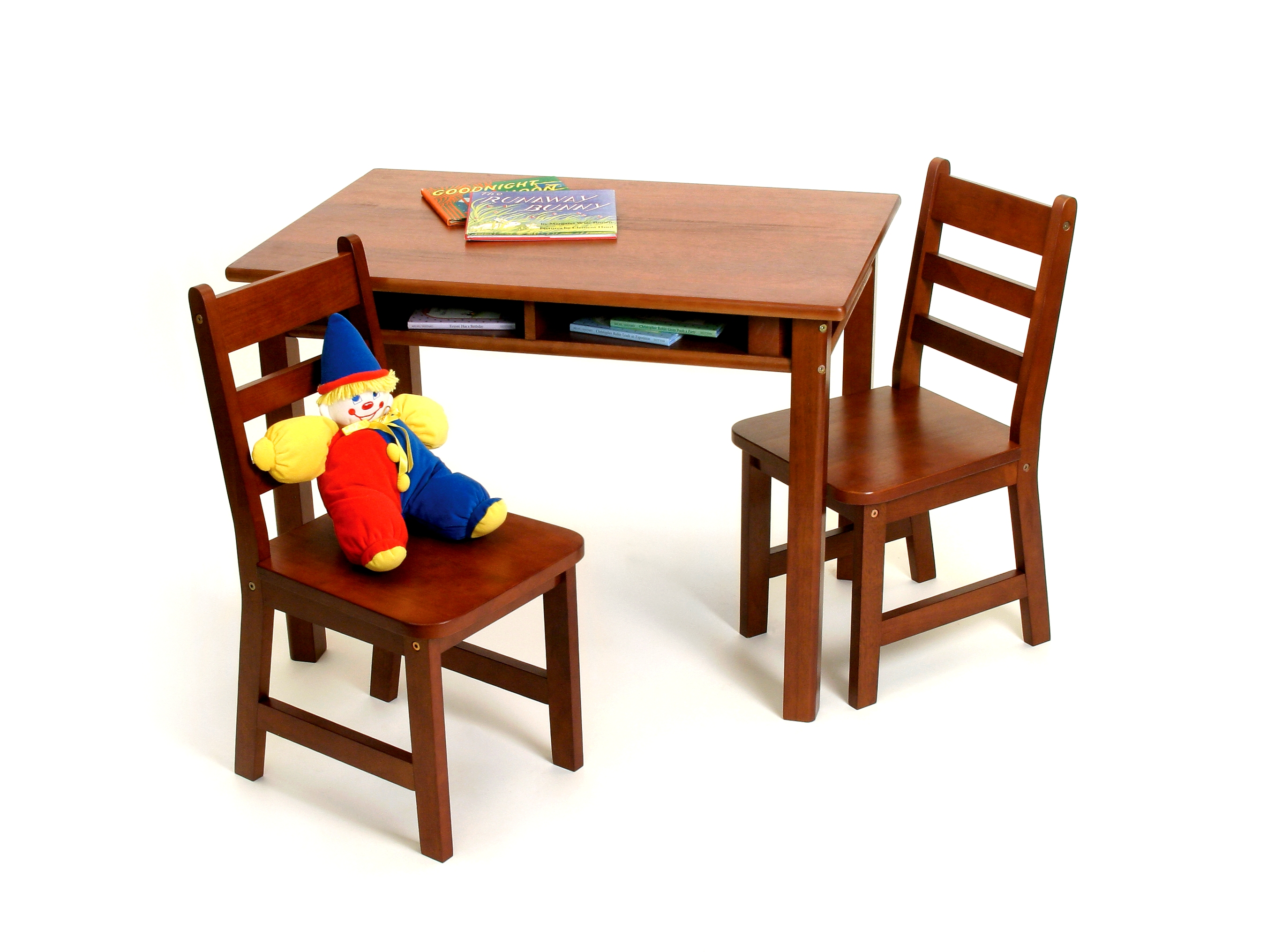 Child\'s Rectangular Table with Shelves & 2 Chairs, Cherry Finish ...