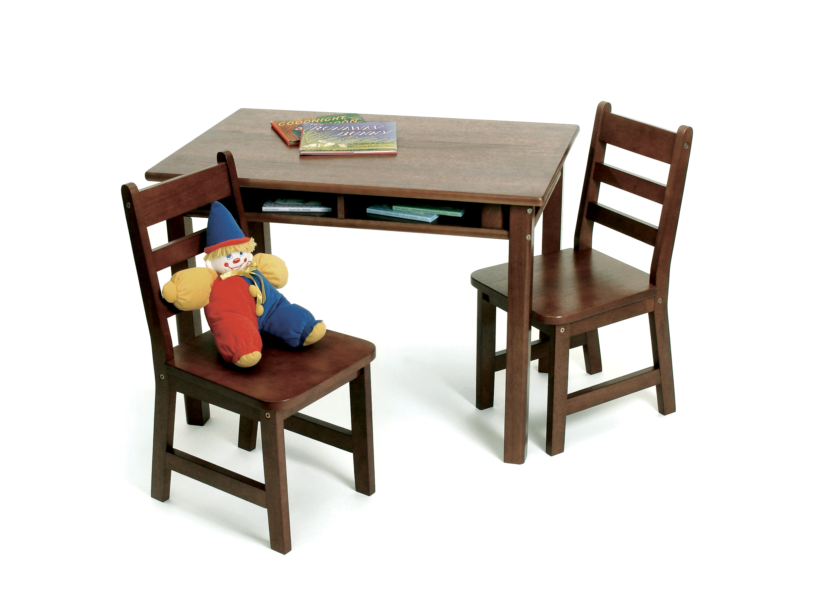 Child s Rectangular Table with Shelves & 2 Chairs Walnut Finish