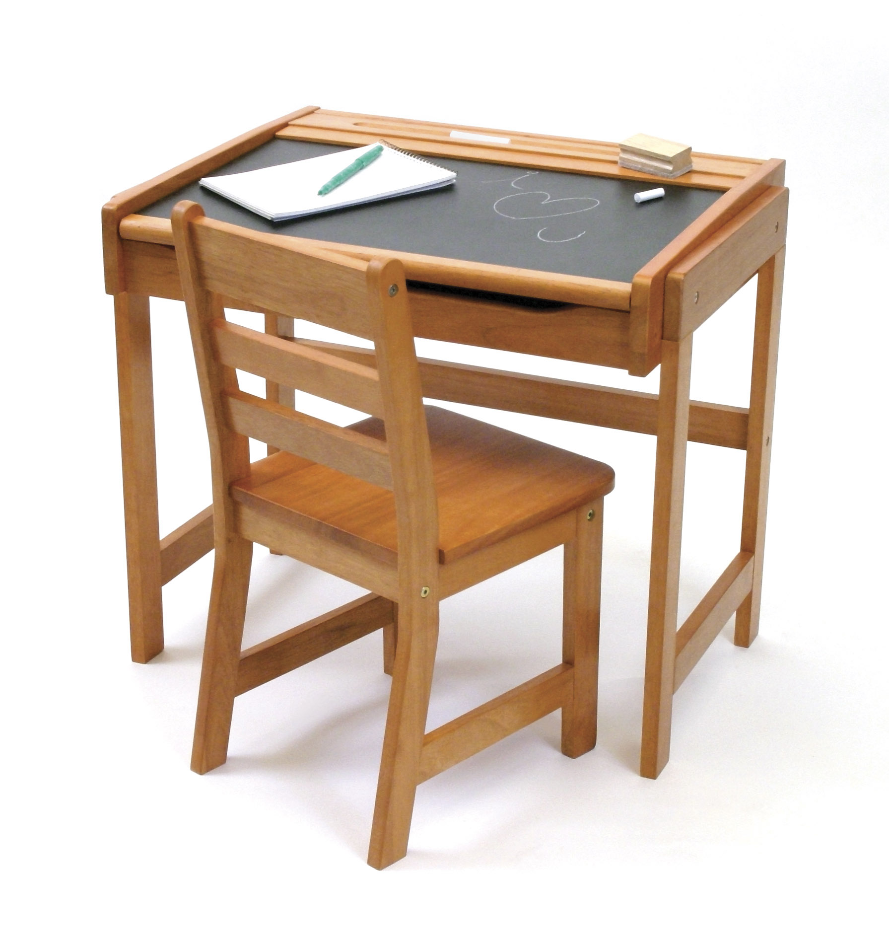 Child S Chalkboard Desk Chair 2 Piece Set Pecan Finish Lipper International Sets