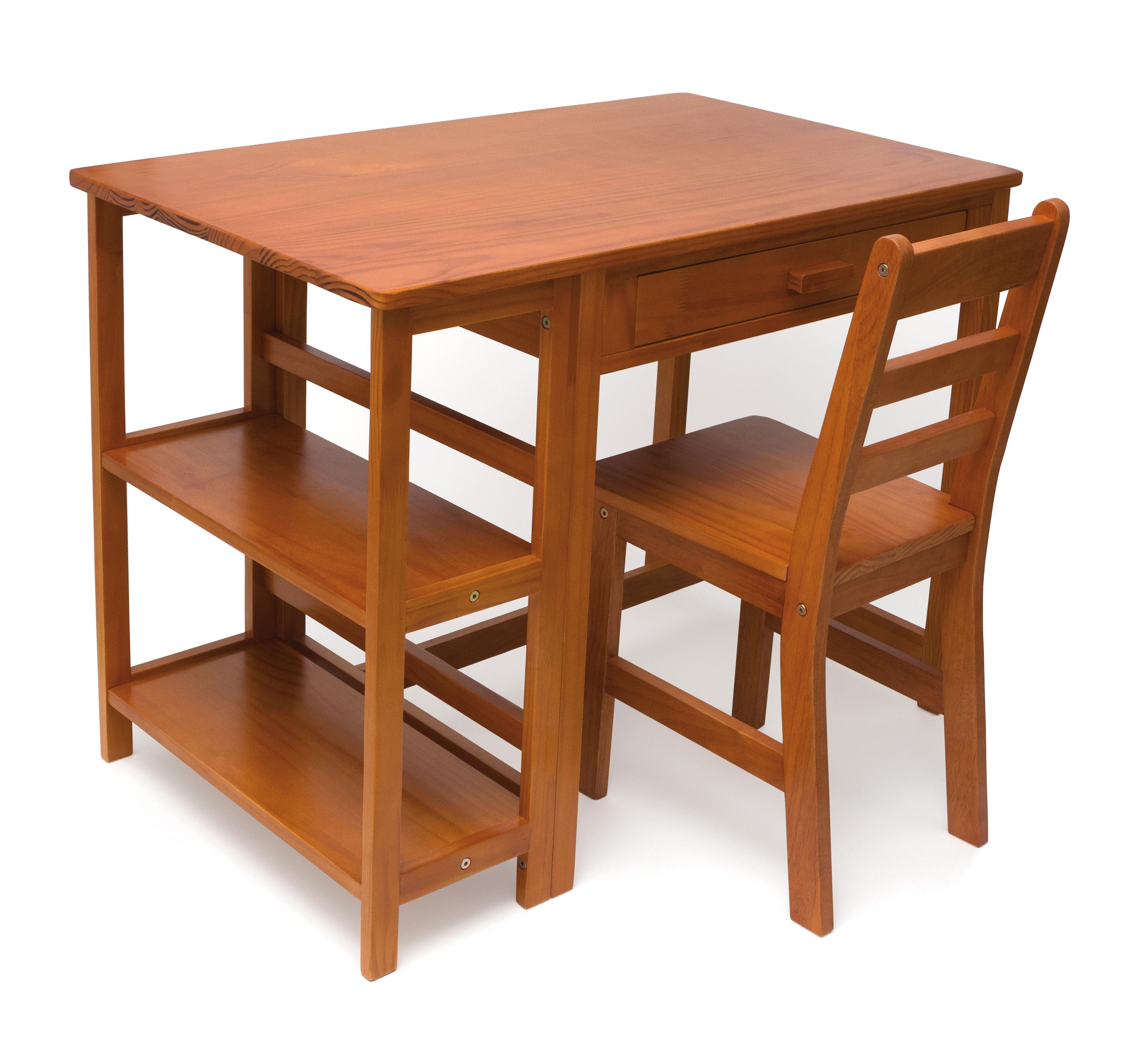 Childu0027s Work Station And Chair, Pecan Finish | Lipper International Desk U0026  Chair Sets