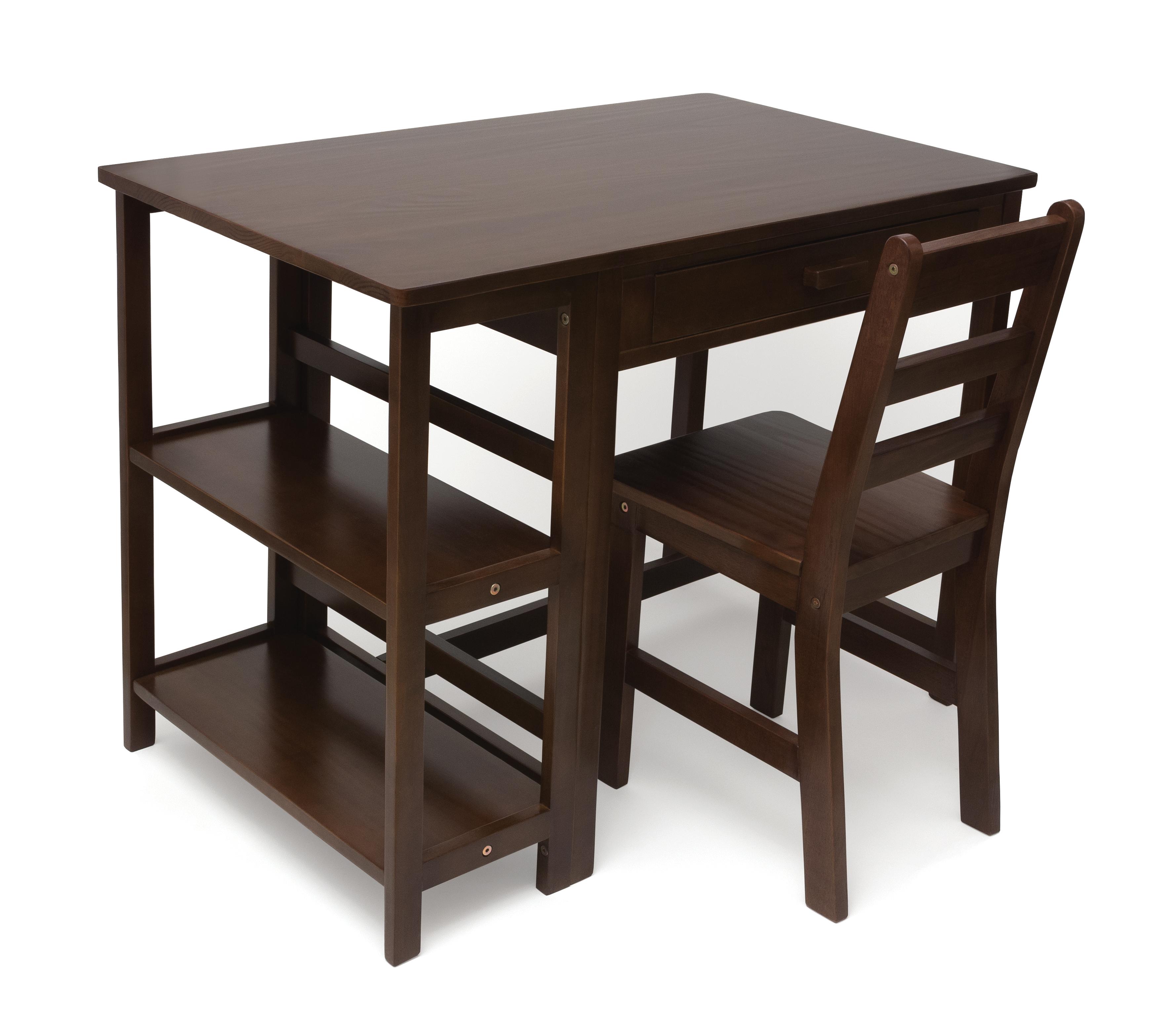 Child S Work Station And Chair Walnut Finish Lipper International Desk Sets