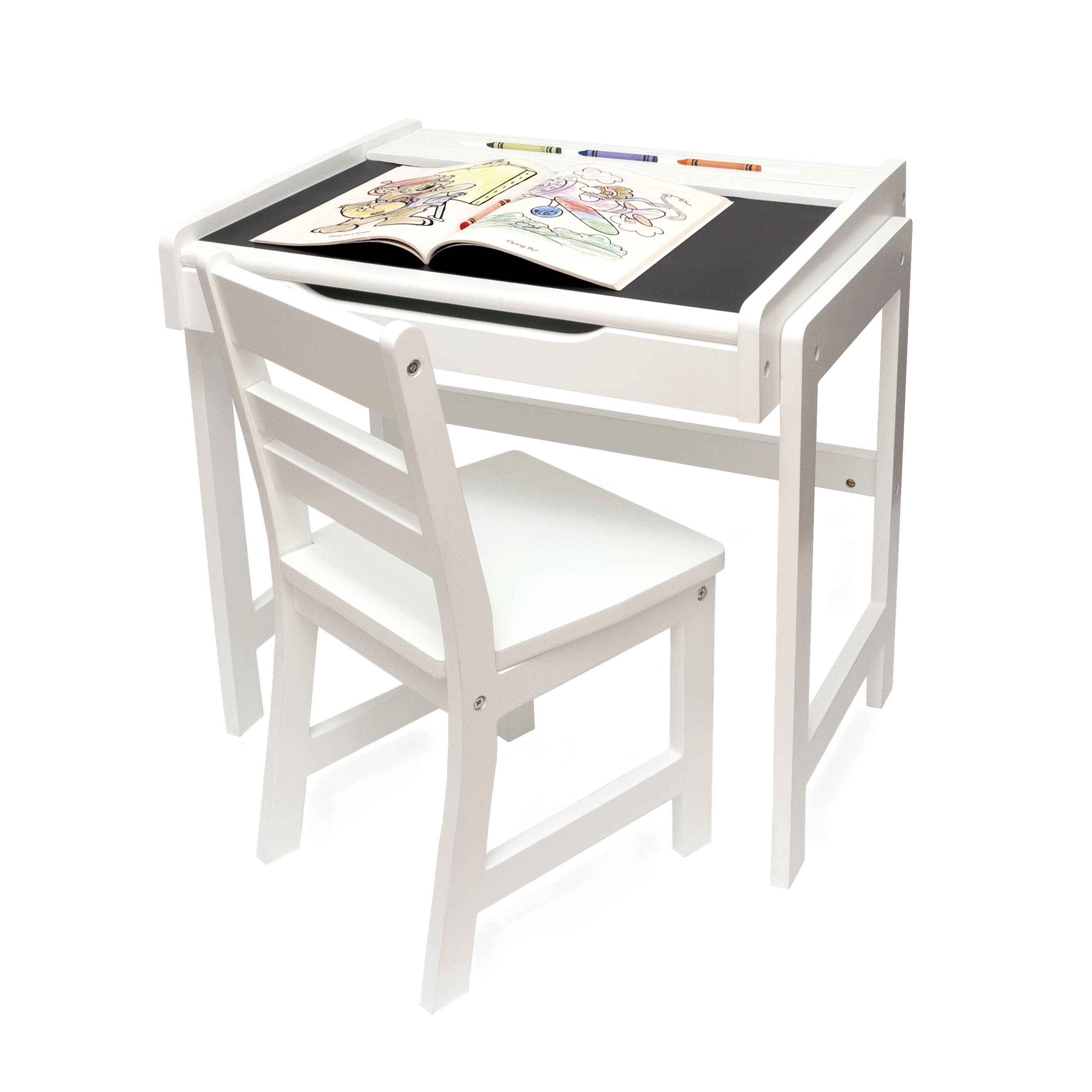 Child\'s Desk with Chalkboard Top and Chair Set, White Finish ...