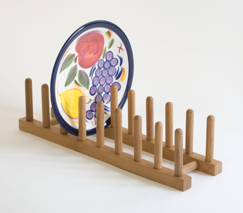 & Bamboo Plate Rack | Lipper International Racks