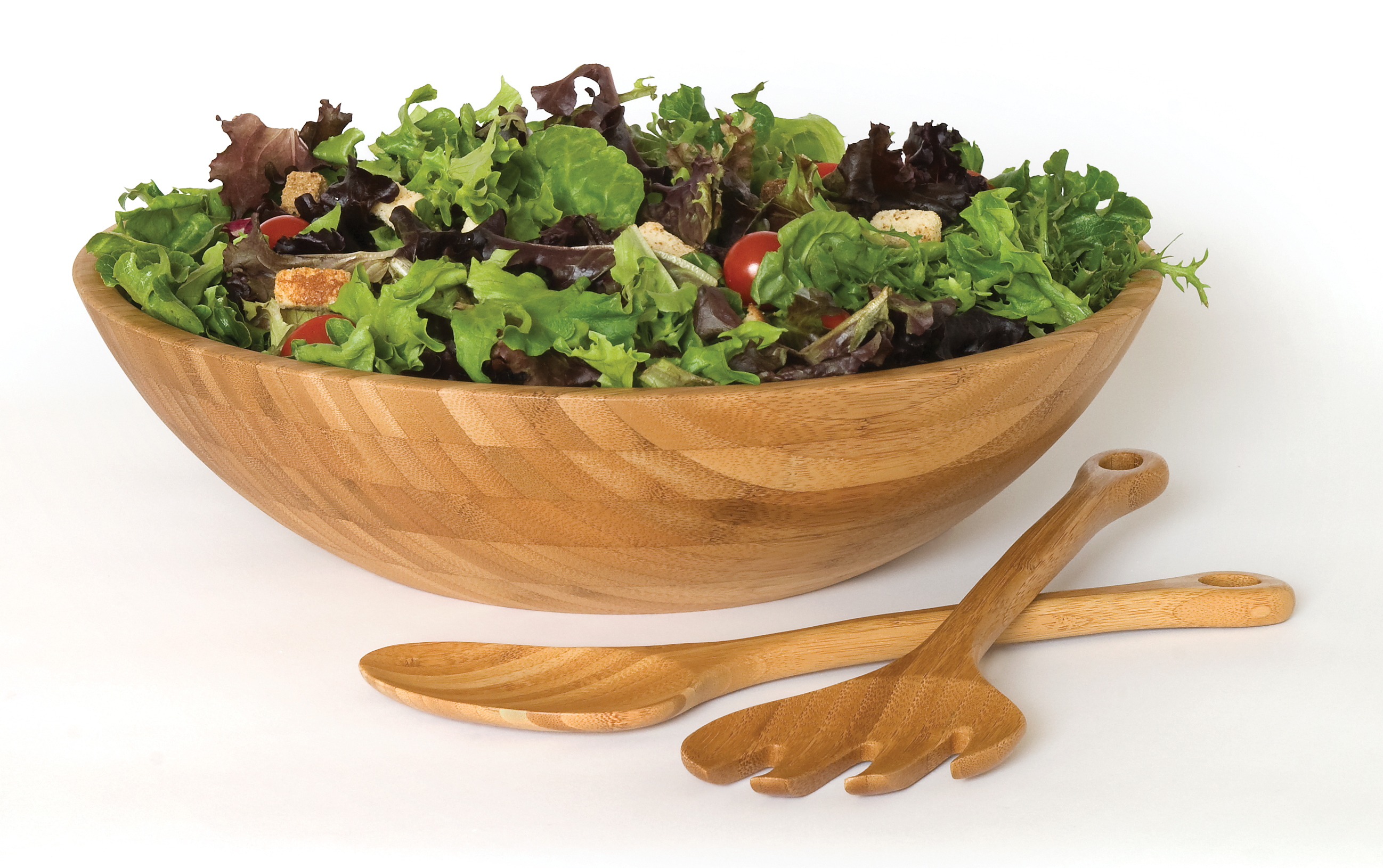 Bamboo Large Salad Bowl With Servers 3 Piece Set Lipper
