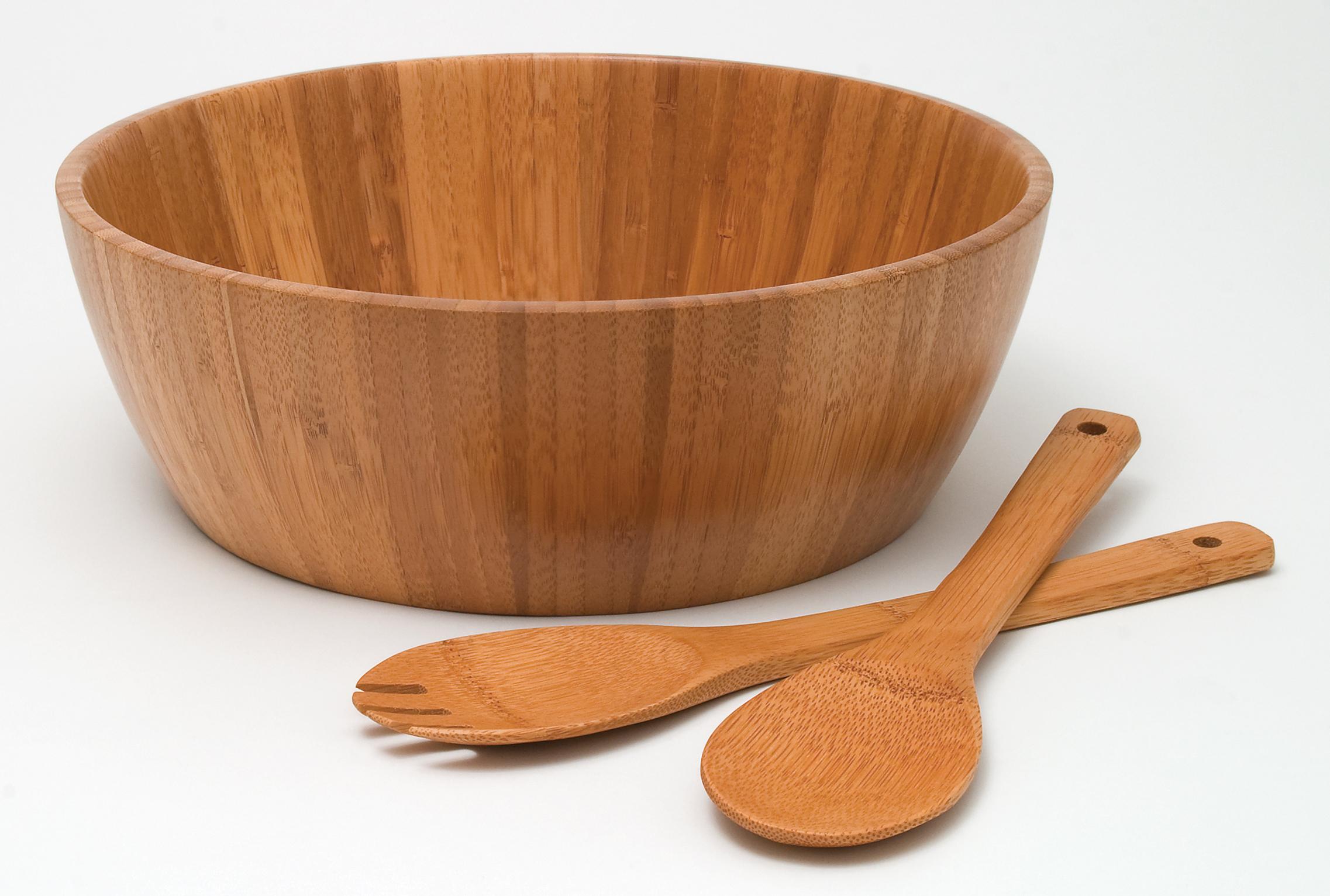 bamboo salad bowl with servers 3 piece set lipper international bowl server sets - Wooden Salad Bowl Set