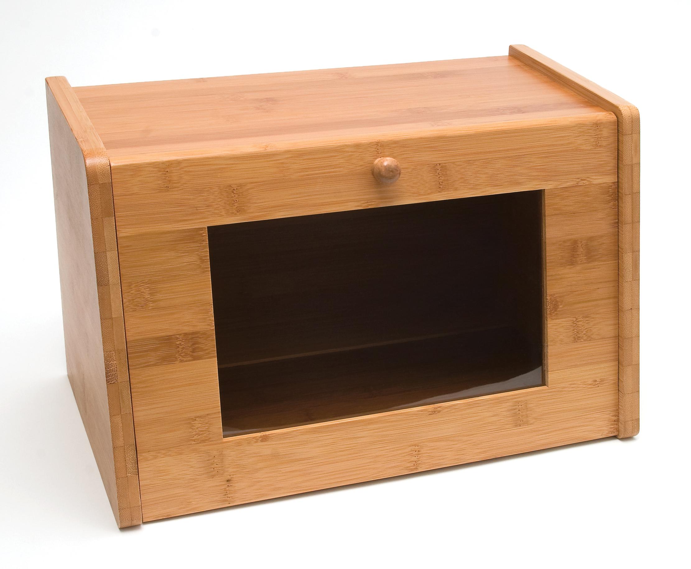 Bamboo Bread Box With Tempered Glass Window | Lipper International Tea U0026  Bread Boxes