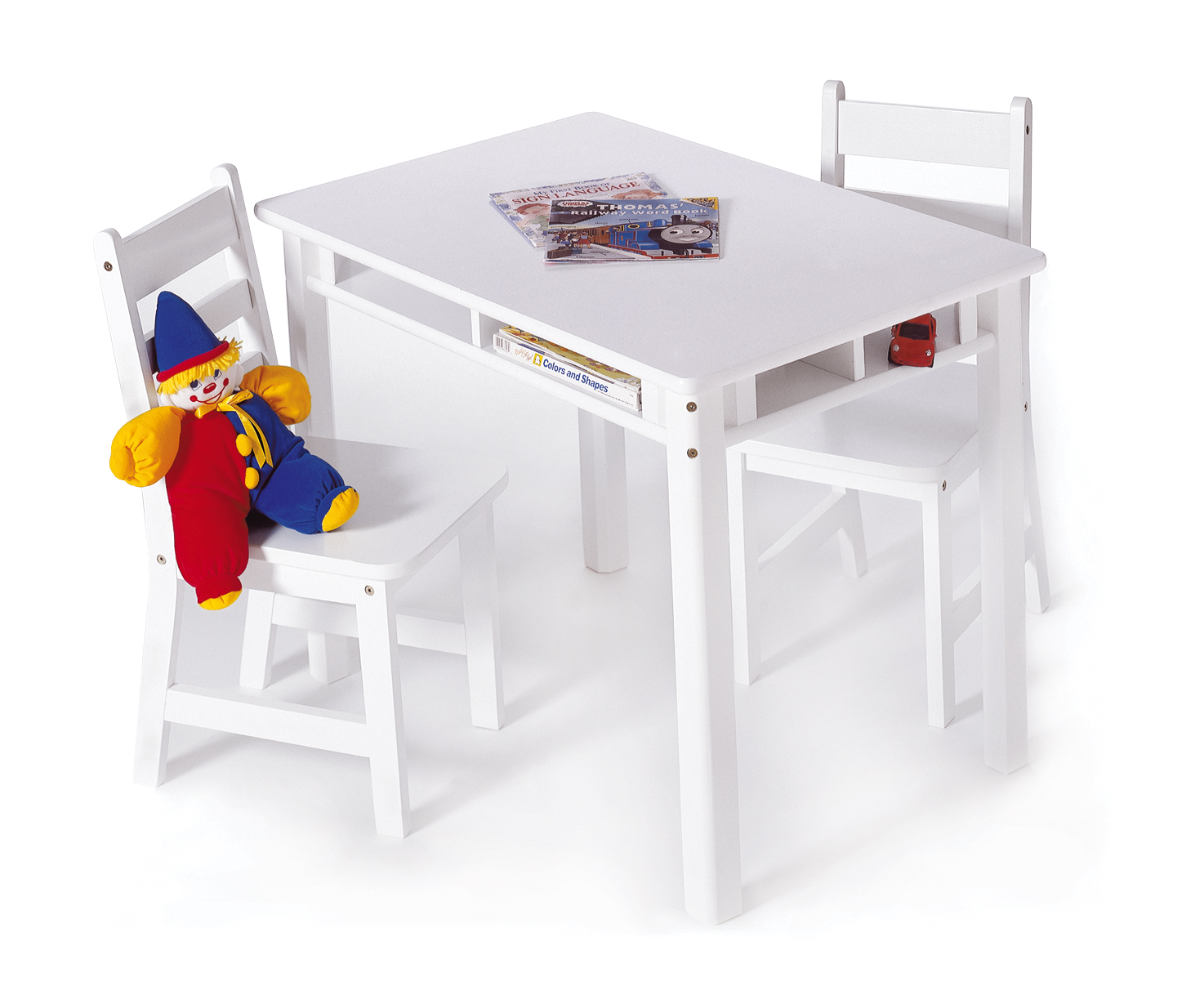 Child S Rectangular Table With Shelves 2 Chairs White Lipper International Chair Sets